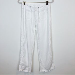 CABI WHITE WIDE LEG LINEN PANTS STYLE 417 SZ XS